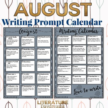 Creative Writing Prompts for August