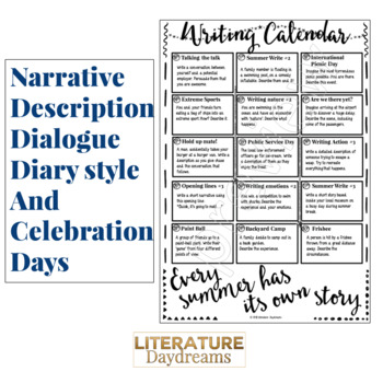 End of Year Creative Writing Prompts for June