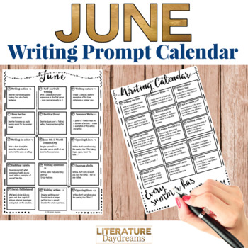 Creative Writing Prompts Calendar - June