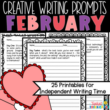 February Creative Writing Prompts Printables 3rd 4th 5th grades