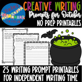 Creative Writing Prompts for October - 3rd 4th 5th grade NO PREP