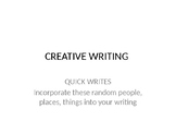 Creative Writing Quick Prompts, Bell Ringers