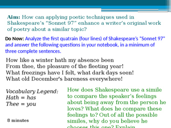 Creative Writing Sonnet 97 Inspired Poem Full Lesson Plan in Powerpoint Format