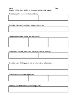 Creative Writing - Story Builder Worksheet 1