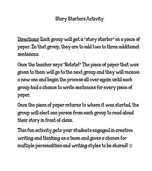 Story Starters Group Activity