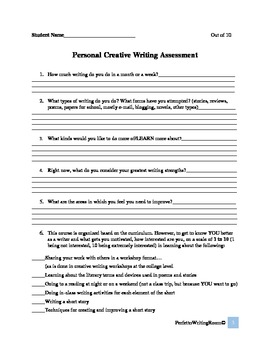 Creative Writing Student Self-Assessment and Class Expectation Handout