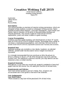 Creative Writing Syllabus and Portfolio Requirements *Editable*