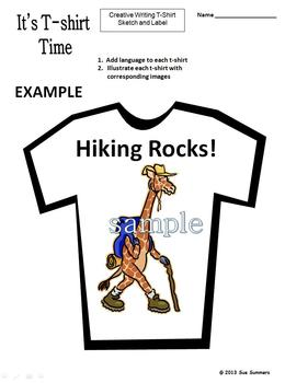 Creative Writing T-Shirt Activity - Design and Label 1 T-Shirt