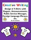Creative Writing T-Shirt Activity - Design and Label 6 T-Shirts