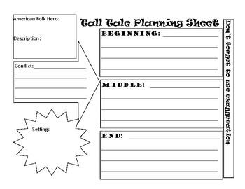 Creative Writing Tall Tale Planning Sheet