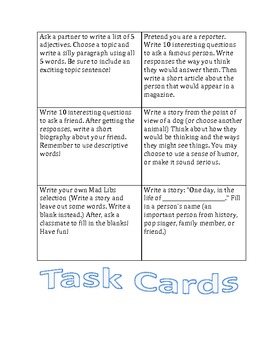 Creative Writing Task Cards/Enrichment Center