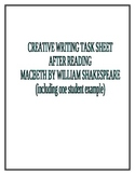 Creative Writing Task Sheet and Student Sample-Macbeth by