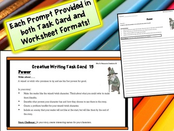 Narrative Writing Prompts Activity {Worksheets and Task Cards} - Set of 50