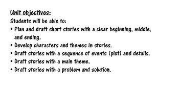 Creative Writing Tasks, Unit: Short Fiction Stories (part 1: planning/drafting)