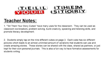 """Narrative Writing """"Tell Them Your Story Cubes"""""""