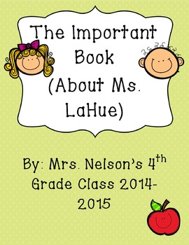 Creative Writing- The Important Book (editable cover page)