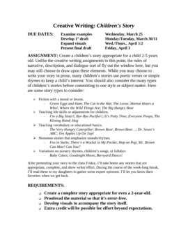 Creative Writing Unit: Creating a Children's Story
