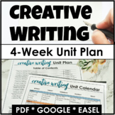 Creative Writing Unit Plan - 4 Weeks of Lessons, Assignmen