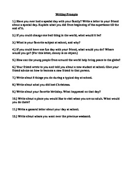Creative Writing Workbook for E.S.L. 9th and 10th Grade Students