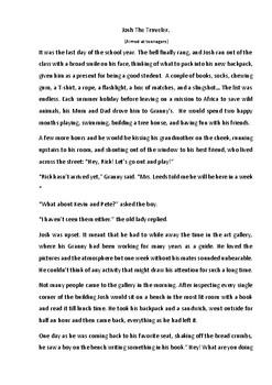 Creative Writing Worksheet. Josh The Treveler. ESL