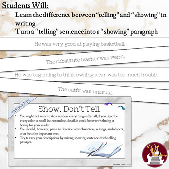 "Creative Writing Workshop: ""Show. Don't Tell"" Mini Lesson"