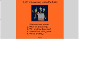 Creative Writing using the 5 Ws - Halloween Theme
