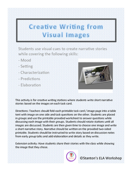 Creative Writing Stations with Visuals teaching Mood, Setting, Characterization