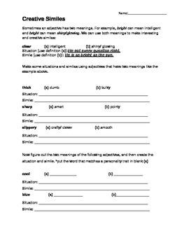 Creative and Ironic Simile Worksheet