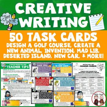 Creative Writing Activities Bundle 50 Task Cards Teacher Tips and Rubric