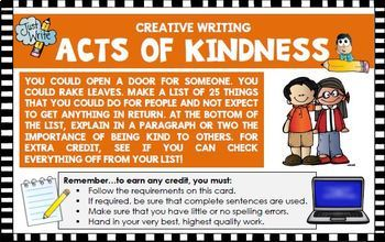 Creative writing activity Create Act of Kindness list