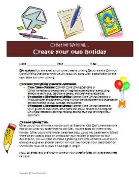 Creative writing activity Create a new holiday