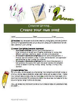 Creative writing activity create a song