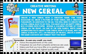 Creative writing activity: Create  cereal advertisement