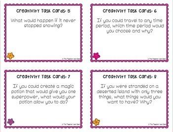 Creativity Task Cards Freebie for 3rd - 6th Grade