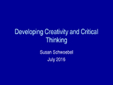 Creativity and Critical Thinking Powerpoint