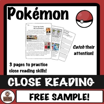 Pokémon Close Read and Worksheet - Creator of Pokémon - FREEBIE