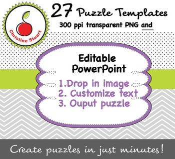 Creator's / Seller's Toolkit - 27 Editable Puzzle Templates - Sequencing