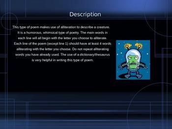 Creature Alliteration Activity Poetry PowerPoint