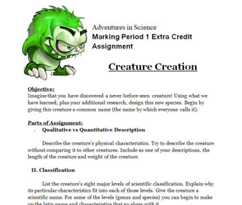 Creature Creation Extra Credit Assignment --Determine Classification, Needs, etc