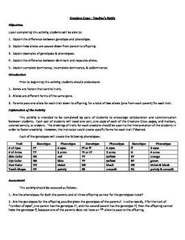 Creature Cross Genetics & Heredity Activity