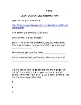 Creature Feature Internet Scavenger Hunt