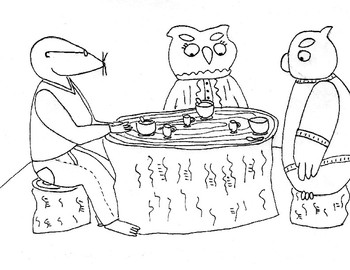 Creature Kingdom Coloring Page -- Digory Mole and Owl Friends