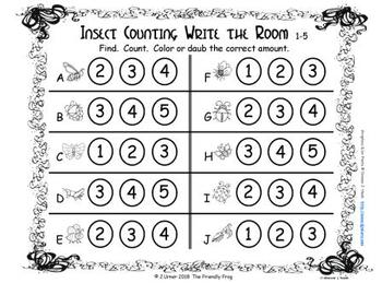 Creature Scatter Counting to 5: Write the Room