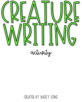 Creature Writing Activity