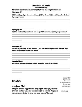 Creatures Quiz, discussion questions and Graphic Organizer (Heights series)