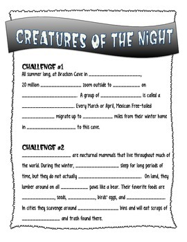 Creatures of the Night - Nocturnal Animal QR Code Scavenger Hunt