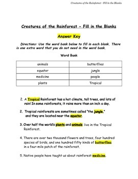 Creatures of the Rainforest Fill in the Blanks w/ Answer Key Grades 1-3 PDF