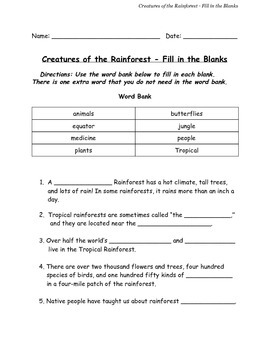 Creatures of the Rainforest Fill in the Blanks w/ Answer K