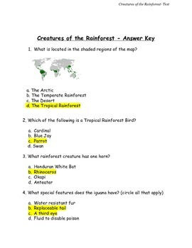 Creatures of the Rainforest Test and Answer Key Grades 2-5 PDF