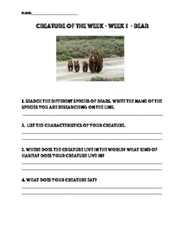 Creature of the Week Grades 3-5